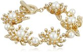 "Anne Klein Into The Garden"" Gold-Tone Pear and Crystal Open Bangle Bracelet"
