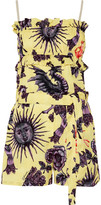 Just Cavalli Ruffled printed crepe de chine playsuit