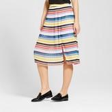 WD·NY Black Women's Striped Pleated Midi Skirt - WD-NY Black