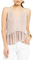 Gianni Bini Joannie Cold Shoulder Pleated Tiered Blouse