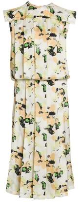 Plan C Pleated Floral Midi Dress