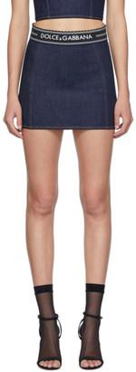 Dolce & Gabbana Indigo Denim Lingerie Insert Miniskirt