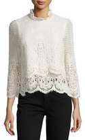 MiH Jeans Esbaran Scalloped Lace Top, Ivory