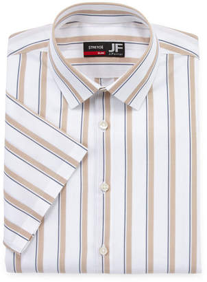 Jf J.Ferrar Slim Mens Spread Collar Short Sleeve Stretch Dress Shirt