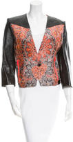 Helmut Lang Leather Jacquard-Paneled Jacket w/ Tags
