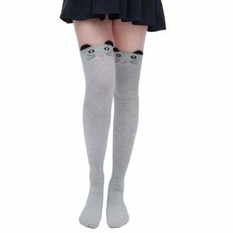"Tuduz Socks TUDUZ Sale Women Hold-up Stockings Ladies Cute Cat Catoon Pattern Socks Long Socks Over Knee High Sock(Gray 1 50cm/19.68"")"