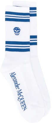 Alexander McQueen Stripe And Skull-Embellished Socks