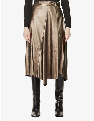 Brunello Cucinelli Wrap-front metallic-leather midi skirt