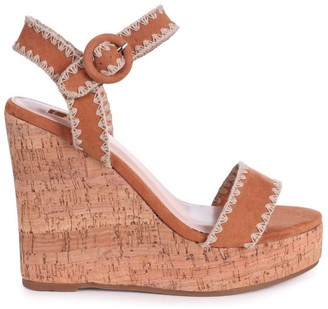 Linzi LUCIA - Tan Suede Cork Wedge With Macrame Trim