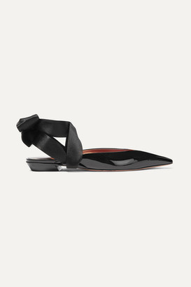 Altuzarra Kirk Satin-trimmed Patent-leather Point-toe Flats - Black