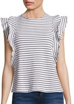 McGuire Noemie Cotton Striped Ruffle Top