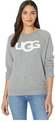 UGG Fuzzy Logo Crew Neck Sweatshirt (Grey Heather) Women's Clothing