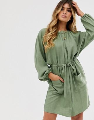 Asos Design DESIGN mini utility shirt dress with drawstring waist-Green