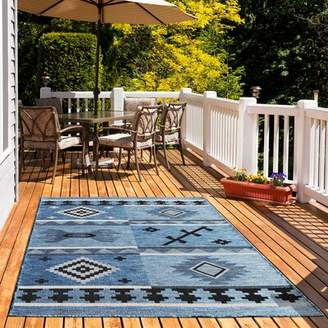 """Tubbs Millwood Pines Blue Indoor/Outdoor Area Rug Millwood Pines Rug Size: Rectangle 5'3"""" x 7'6"""""""