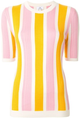 CK Calvin Klein Fine Knit Striped Pattern Top
