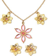 Liz Claiborne Pink Flower Necklace and Earring Set
