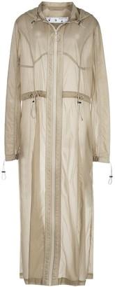 Off-White Sheer Panelled Hooded Coat