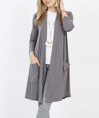 Lydiane Women's Open Cardigans MIDGREY - Mid Gray Three-Quarter Sleeve Slouchy-Pocket Open Cardigan - Women & Plus