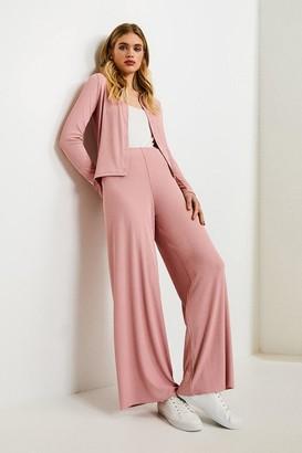 Karen Millen Lounge Rib Eyelet Popper Jersey Cardigan