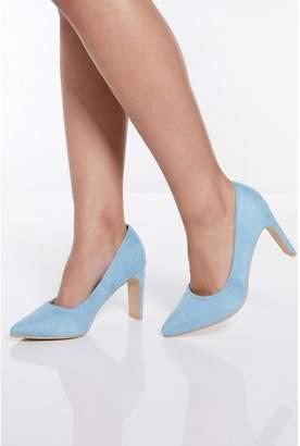 Quiz Pale Blue Faux Suede Point Court Shoes