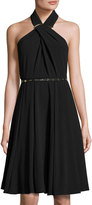 Halston Cross-Neck Halter Dress, Black