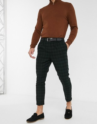 New Look green tartan check trouser in black