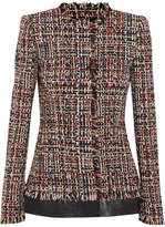 Alexander McQueen Leather-trimmed Fringed Tweed Jacket - Red