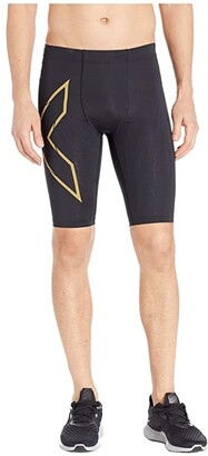 2XU MCS Run Compression Shorts (Black/Gold Reflective) Men's Shorts