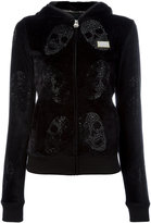 Philipp Plein velour crystal skull print hoodie - women - Cotton/Polyester/Modal - S