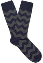 Oliver Spencer Loungewear - Cranmer Patterned Stretch Cotton-blend Socks - Navy