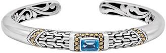 Devata Sterling Silver 18K Yellow Gold Accented Blue Topaz Filagree Cuff Bracelet