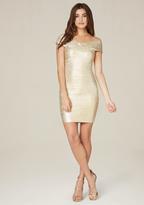 Bebe Brushed Foil Bandage Dress