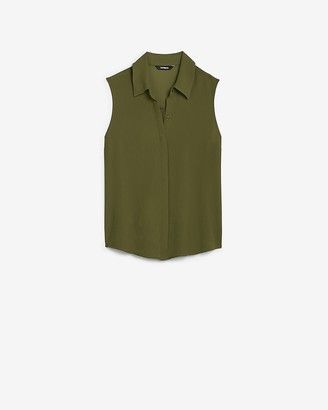 Express Sleeveless Button Front Shirt