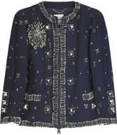 Embellished wool-blend cropped jacket