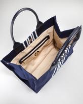 Tory Burch Ella Striped Canvas Tote Bag, Navy