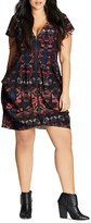 City Chic Zip-Front Printed Tunic