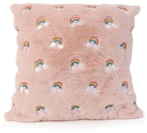 OMG Accessories Rainbow Embroidered Fluffy Pillow