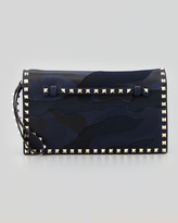 Valentino Rockstud Camouflage Clutch Bag, Blue