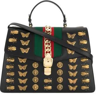 Gucci Black Sylvie animal studs Leather tote bag