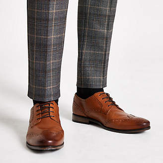 River Island Brown leather embossed lace-up brogues
