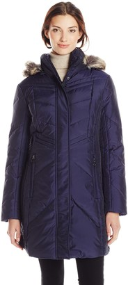 """Anne Klein Women's Harriet 35"""" Chevron Down Coat with Detachable Faux-Fur Trim Hood"""