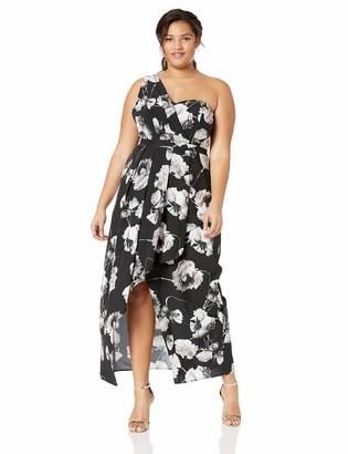City Chic Women's Apparel Women's Plus Size Single Shoulder Maxi Cocktail Dress in Floral Print