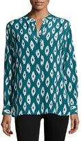 Equipment Arya Ikat-Print Silk Blouse, Amulet Multi