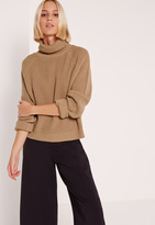 Missguided Turtle Neck Crop Sweater Brown