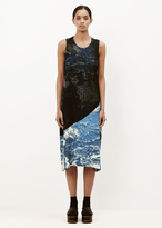 Issey Miyake blue hued print earth pleats dress