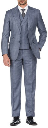 English Laundry Blue Plaid Two Button Peak Lapel Slim Fit Vest Suit