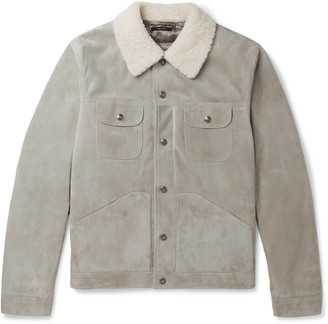 Tom Ford Shearling-Trimmed Suede Down Jacket - Men - Gray