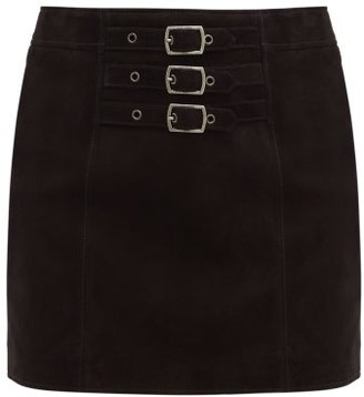 Saint Laurent High-rise Suede Mini Skirt - Black