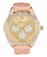 Geneva Platinum Goldtone & Light Pink Quilted Chronograph Watch