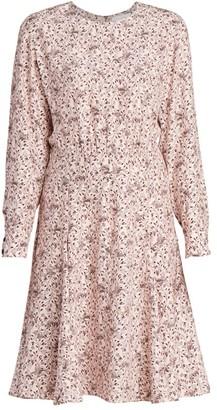 Chloé Bird-Print Silk Crepe Dress